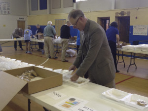 CCHLT Board President, Tim Schoonover serving at the Rotary Sandwich Sale
