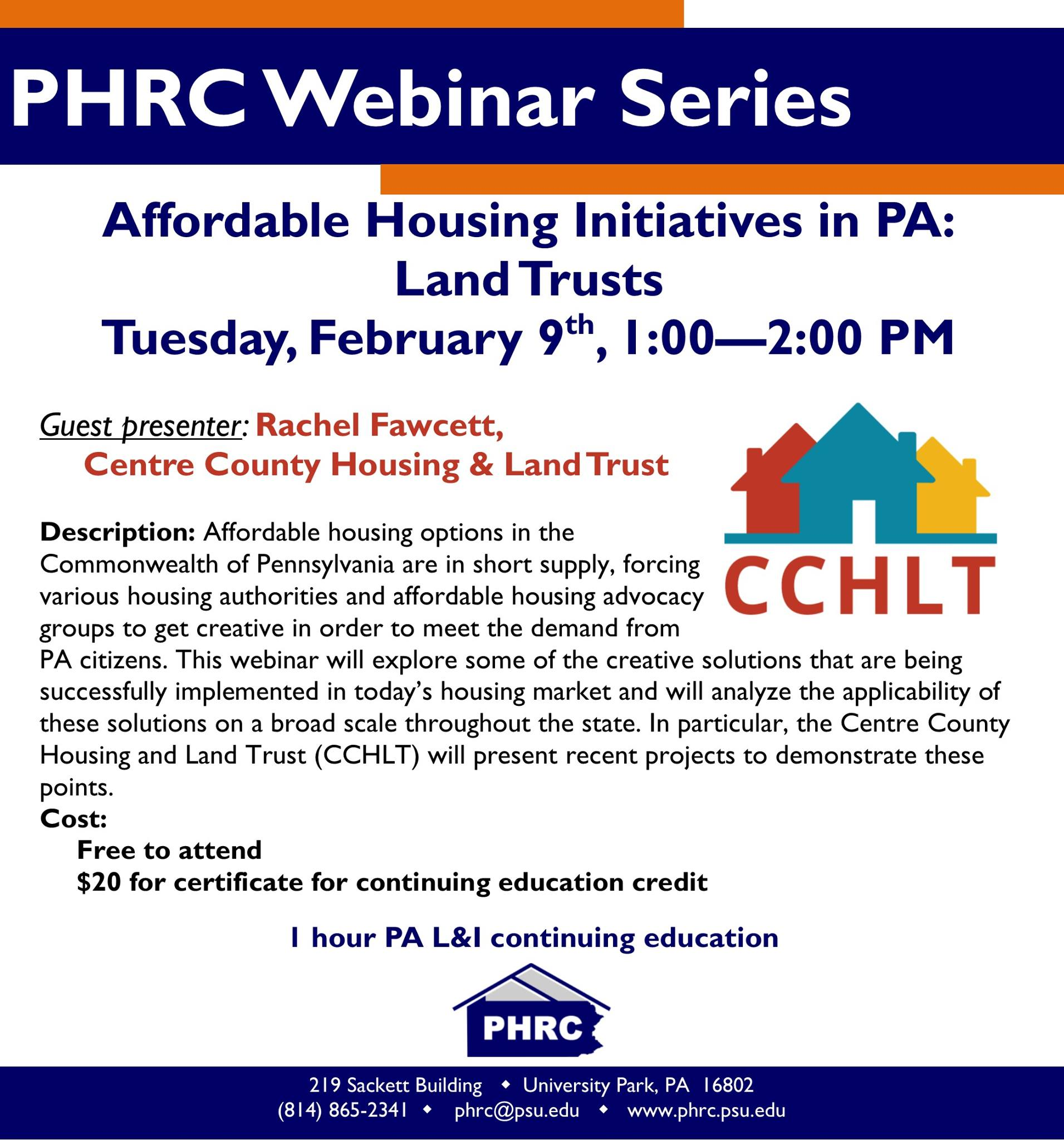 PHRC Webinar - Affordable Housing Initiatives in PA: Land Trusts