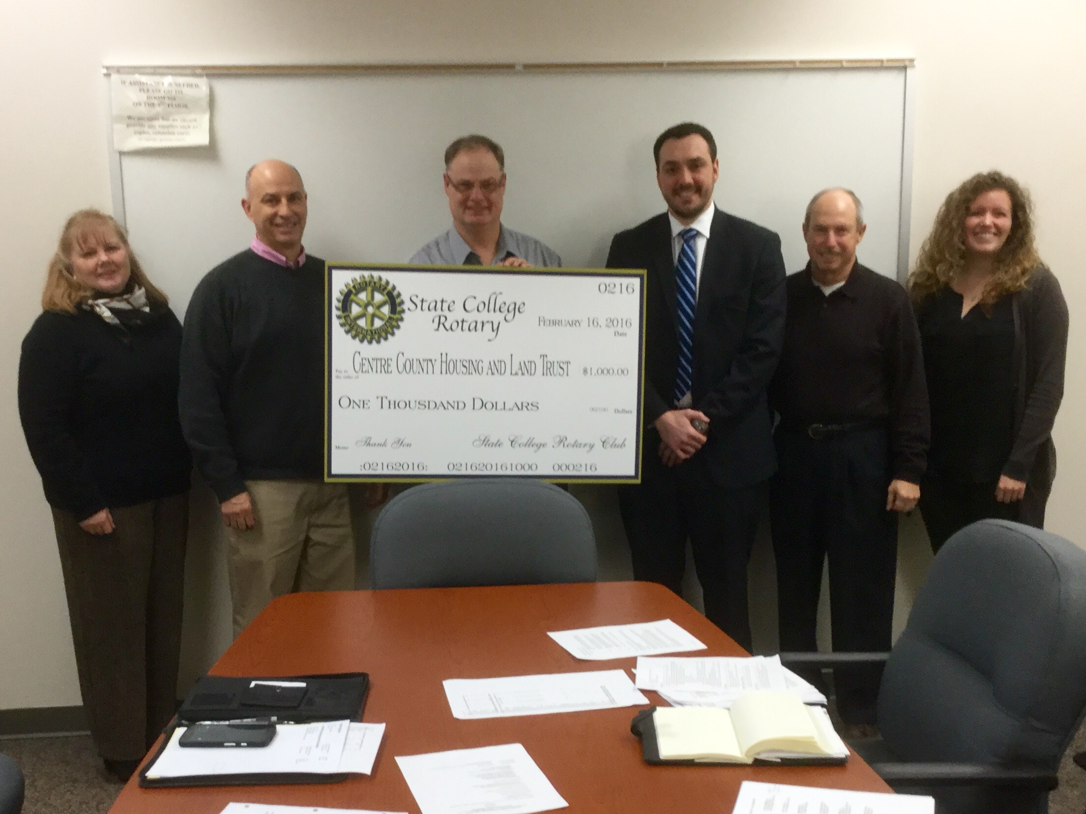 Thank You to the State College Rotary for their donation to CCHLT